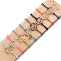 Wachsschnur Armband, mit Zinklegierung, Platinfarbe platiniert, unisex & einstellbar, verkauft per ca. 7.1-11 ZollInch Strang