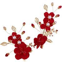 Zinklegierung Braut Haar Blumen, mit ABS-Kunststoff-Perlen & Stoff, goldfarben plattiert, Koreanischen Stil & für Braut & für Frau, rot, frei von Nickel, Blei & Kadmium, 150mm,70-100mm, verkauft von PC