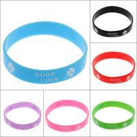 Silikon Armbänder, Kreisring, elastisch & unisex & mit Brief Muster, keine, 12*1.5mm, Länge:ca. 7.5 ZollInch, 10SträngeStrang/Tasche, verkauft von Tasche