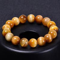 Natürliche Tiger Eye Armband, Tigerauge, rund, elastisch & unisex & verschiedene Größen vorhanden, gelb, Länge:ca. 6.6-8.2 ZollInch, 2SträngeStrang/Menge, verkauft von Menge