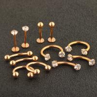 Edelstahl Body Piercing-Schmuck-Set, unisex & mit Strass, Goldfarbe, 1.2x8x3, 12PCs/setzen, verkauft von setzen