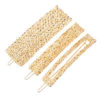 Haarspange, Zinklegierung, plattiert, für Frau, Goldfarbe, frei von Nickel, Blei & Kadmium, 80x25mm, verkauft von setzen