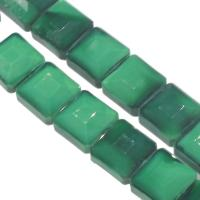 Mode Glasperlen, Glas, Quadrat, DIY & facettierte, dunkelgrün, 13x13x8mm, Bohrung:ca. 1mm, 50PCs/Strang, verkauft von Strang