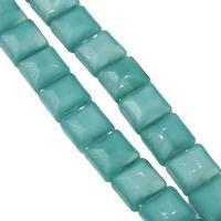 Mode Glasperlen, Glas, Quadrat, DIY & facettierte, Malachitgrün, 13x13x8mm, Bohrung:ca. 1mm, 50PCs/Strang, verkauft von Strang