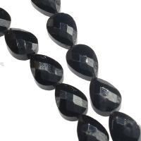 Mode Glasperlen, Glas, Tropfen, DIY & facettierte, schwarz, 13x10x7mm, Bohrung:ca. 1mm, 50PCs/Strang, verkauft von Strang
