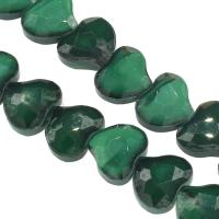 Mode Glasperlen, Glas, Herz, DIY & facettierte, dunkelgrün, 14x16x8mm, Bohrung:ca. 1mm, 50PCs/Strang, verkauft von Strang