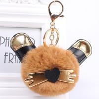 PU Leder Karabiner mit Schlüsselringen, mit Imitierter Pelz, Katze, für Frau, keine, 180mm, 5PCs/Menge, verkauft von Menge