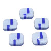 Lampwork Cabochon, Quadrat, blau, 28x7mm, 10PCs/Tasche, verkauft von Tasche