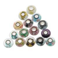 Lampwork Perlen European Stil, mit Messing, rund, gemischte Farben, 14x8mm, Bohrung:ca. 4mm, 100PCs/Tasche, verkauft von Tasche