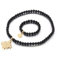 Lava Mode Schmuckset, Armband & Halskette, mit Edelstahl, goldfarben plattiert, unisex, schwarz, 8mm,15mm,39*35mm, Länge:ca. 7.8 ZollInch, ca. 17.7 ZollInch, verkauft von setzen
