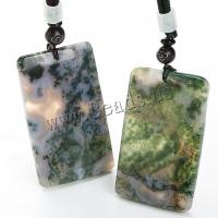 Moos Achat Halskette, mit Gewachsten Baumwollkordel, Rechteck, unisex, 35x6x37mm, verkauft per ca. 15.7 ZollInch Strang