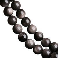 Schwarze Obsidian Perlen, rund, poliert, DIY & verschiedene Größen vorhanden, schwarz, verkauft per ca. 15 ZollInch Strang