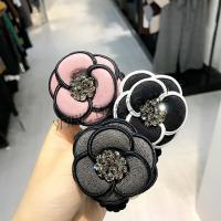 Pferdeschwanz-Halter, Stoff, mit Kunststoff Perlen, Blume, für Frau & mit Strass, keine, 55mm, verkauft von PC