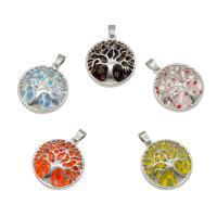 Millefiori Glas Anhänger Schmuck, Millefiori Lampwork, mit Zinklegierung, Platinfarbe platiniert, keine, 31x28x7mm, Bohrung:ca. 4mm, 5PCs/Tasche, verkauft von Tasche