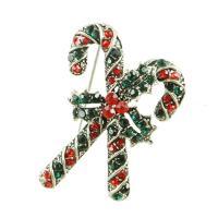 Zinklegierung Brosche, Weihnachten Zuckerstange, plattiert, unisex & mit Strass, keine, frei von Nickel, Blei & Kadmium, 30x43mm, verkauft von PC