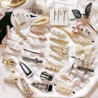 Haarspange, Zinklegierung, mit Kunststoff Perlen, plattiert, verschiedene Stile für Wahl & für Frau & mit Strass, frei von Nickel, Blei & Kadmium, verkauft von PC