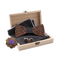 Holz Manschettenknopf & Brosche, mit Stoff, verschiedene Stile für Wahl, 120x55x5mm, verkauft von setzen