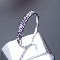 Zirkonia Micro Pave Sterling Silber Ringe, 925er Sterling Silber, platiniert, verschiedene Größen vorhanden & Micro pave Zirkonia & für Frau, keine, verkauft von PC
