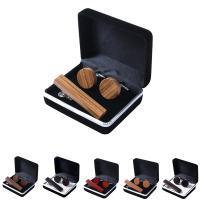 Holz Krawattennadel & Manschettenknopf, mit Stoff, verschiedenen Materialien für die Wahl & unisex, 16x16mm, verkauft von setzen