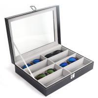 PU Leder Brillenetui, Rechteck, grau, 340x250x80mm, 2PCs/Menge, verkauft von Menge