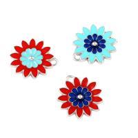 Zinklegierung Blume Anhänger, Platinfarbe platiniert, Emaille, keine, frei von Nickel, Blei & Kadmium, 21x19x2mm, Bohrung:ca. 1.9mm, 50PCs/Tasche, verkauft von Tasche