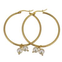 Edelstahl-Hebel zurück-Ohrring, Edelstahl, mit Kunststoff Perlen, goldfarben plattiert, für Frau, 41x42mm,6x10mm, 6PaarePärchen/Menge, verkauft von Menge