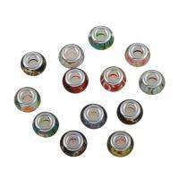 Harz Schmuckperlen, mit Messing, Platinfarbe platiniert, großes Loch, 13*8mm, Bohrung:ca. 5mm, 100PCs/Tasche, verkauft von Tasche