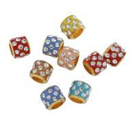 Strass Messing Perlen, mit Lehm pflastern, goldfarben plattiert, mit Strass & großes Loch, 9*8mm, Bohrung:ca. 5mm, 100PCs/Tasche, verkauft von Tasche