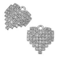 Messing Herz Anhänger, platiniert, Hohe Qualität überzogen und verblassen nie & Micro pave Zirkonia, frei von Nickel, Blei & Kadmium, 9.5x10x2.5mm, Bohrung:ca. 1mm, 30PCs/Menge, verkauft von Menge
