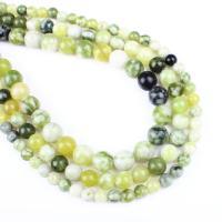 Hetian Jade Perle, rund, verschiedene Größen vorhanden, grün, Bohrung:ca. 1mm, verkauft per ca. 14.9 ZollInch Strang