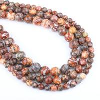 Leopardhaut Stein Perle, rund, verschiedene Größen vorhanden, rot, Bohrung:ca. 1mm, verkauft per ca. 14.9 ZollInch Strang