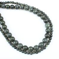 Russische Serpentine Perlen, rund, verschiedene Größen vorhanden, grün, Bohrung:ca. 1mm, verkauft per ca. 14.9 ZollInch Strang