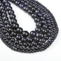 Blaue Goldstein Perlen, blauer Goldsand, rund, verschiedene Größen vorhanden, blau, Bohrung:ca. 1mm, verkauft per ca. 14.9 ZollInch Strang