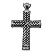 Edelstahl-Kreuz- Anhänger, Edelstahl, Jesus Kreuz, Schwärzen, 28x50x6.5mm, Bohrung:ca. 4x7mm, verkauft von PC