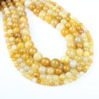 gelbe Jade Perle, rund, verschiedene Größen vorhanden, gelb, Bohrung:ca. 1mm, verkauft per ca. 14.9 ZollInch Strang