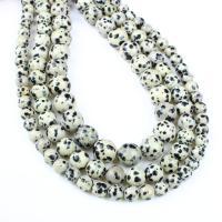 Dalmatinische Perlen, Dalmatiner, rund, verschiedene Größen vorhanden, weiß und schwarz, Bohrung:ca. 1mm, verkauft per ca. 14.9 ZollInch Strang