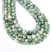 Grüner Tupfen Stein Perlen, grüner Punkt Stein, rund, verschiedene Größen vorhanden, grün, Bohrung:ca. 1mm, verkauft per ca. 14.9 ZollInch Strang