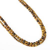 Tigerauge Perlen, rund, verschiedene Größen vorhanden, gelb, Bohrung:ca. 1mm, verkauft per ca. 14.9 ZollInch Strang
