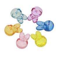 Acryl Anhänger, Hase, DIY & transparent, gemischte Farben, 31x21x13mm, Bohrung:ca. 2mm, ca. 114PCs/Tasche, verkauft von Tasche