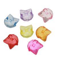 Acryl Anhänger, Katze, DIY & transparent, gemischte Farben, 18x17x11mm, Bohrung:ca. 3mm, ca. 270PCs/Tasche, verkauft von Tasche