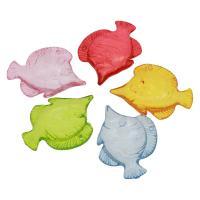 Acryl Anhänger, Fisch, DIY & transparent, gemischte Farben, 47x38x7mm, Bohrung:ca. 2mm, ca. 97PCs/Tasche, verkauft von Tasche
