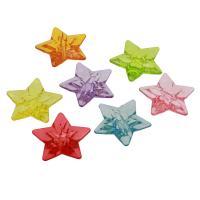 Acryl Anhänger, Stern, DIY & transparent, gemischte Farben, 49x47x14mm, Bohrung:ca. 6mm, ca. 96PCs/Tasche, verkauft von Tasche