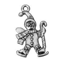 Charakterform Zinklegierung Anhänger, Weihnachtsmann, Schwärzen, Silberfarbe, frei von Nickel, Blei & Kadmium, 15x23.5x2.5mm, Bohrung:ca. 2mm, 100PCs/Menge, verkauft von Menge