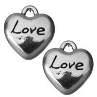 Zinklegierung Herz Anhänger, Schwärzen, Silberfarbe, frei von Nickel, Blei & Kadmium, 11.5x13x5mm, Bohrung:ca. 2mm, 100PCs/Menge, verkauft von Menge