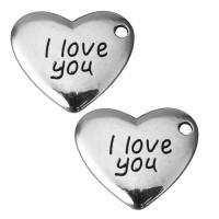 Zinklegierung Herz Anhänger, Schwärzen, Silberfarbe, frei von Nickel, Blei & Kadmium, 17.5x15x2.5mm, Bohrung:ca. 2mm, 100PCs/Menge, verkauft von Menge