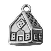 Zinklegierung Gebäude Anhänger, Haus, Schwärzen, Silberfarbe, frei von Nickel, Blei & Kadmium, 13x17x4mm, Bohrung:ca. 2mm, 100PCs/Menge, verkauft von Menge