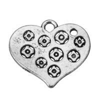 Zinklegierung Herz Anhänger, hohl & Schwärzen, Silberfarbe, frei von Nickel, Blei & Kadmium, 21.5x19x1.5mm, Bohrung:ca. 2.5mm, 100PCs/Menge, verkauft von Menge