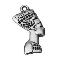Charakterform Zinklegierung Anhänger, Schwärzen, Silberfarbe, frei von Nickel, Blei & Kadmium, 13.5x25.5x2.5mm, Bohrung:ca. 2mm, 100PCs/Menge, verkauft von Menge