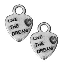 Zinklegierung Herz Anhänger, Schwärzen, Silberfarbe, frei von Nickel, Blei & Kadmium, 9x12.5x1.5mm, Bohrung:ca. 2mm, 100PCs/Menge, verkauft von Menge