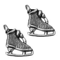 Zinklegierung Schuhe Anhänger, Schwärzen, Silberfarbe, frei von Nickel, Blei & Kadmium, 10.5x12.5x4mm, Bohrung:ca. 2mm, 100PCs/Menge, verkauft von Menge